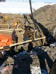 Pouring concrete in footings