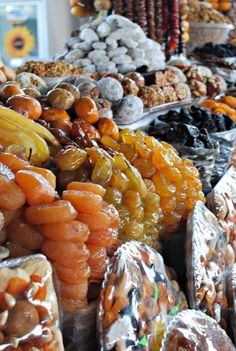 A typical market in Armenia  not spices exactly but wonderful display of dried fruit which go so well in spicy dishes. Find this and other interesting sites with a tour from Viator. Get more information from: http://www.allaboutcuisines.com/food-tours/armenia/in/armenia #Travel Armenia #Armenian Food