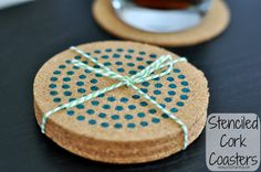 Housewarming Gifts: Stenciled Cork Coasters - My Suburban Kitchen Homemade Christmas Gifts, Christmas Gifts For Mom, Christmas Ideas, Homemade Gifts, Cork Coasters, Custom Coasters, Cork Crafts, Crafts To Sell, Diy Crafts