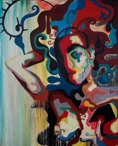 """Neuronified"", by artist Maha Al Sahhaf; Oil on canvas, 60"" x 48"" - SOLD"