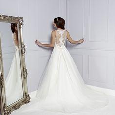 Back of Marigold Wedding Dress in Gold - Amanda Wyatt Blue Iris 2015 Bridal Collection