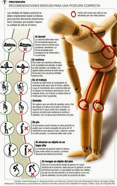 Recomendaciones básicas para una postura correcta. Ergonomía en las tareas diarias.