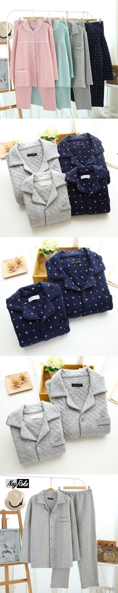 2017 winter 100% cotton simple snowflakes printing soft male pajamas sets long-sleeve warmth sleepwear casual homewear for men
