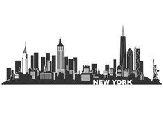Wandtattoo New York Skyline - Silhouette NY - Manhattan Skyline, Manhattan New York, Lower Manhattan, New York Poster, City Poster, Skyline Art, Nyc Skyline Tattoo, New York Skyline Silhouette, New York City