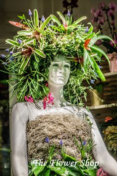mannequin at The Flower Shop, Thessaloniki, plants and flowers decoration