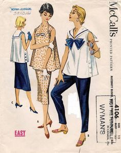1950's VTG McCall's Maternity Blouse,Skirt & Pants Pattern 4106 Size 12