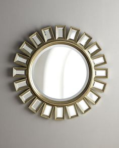 """""""Cyrus"""" Sunburst Mirror at Horchow. I already have this mirror but I'm toying with the idea of getting another and using them as the mirrors in our sink area. Unique Mirrors, Round Mirrors, Floor Mirrors, Decorative Mirrors, Beveled Mirror, Mirror Mirror, Mirror Ideas, Mirror Shop, Sweet Home"""