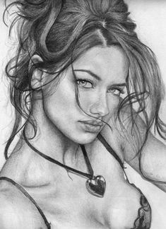 """""""Adriana Lima"""" by Arianna Priola """"Adriana Lima"""" - Arianna Priola, pencil {figurative realism art beautiful female head decolletage young woman face portrait monochrome cropped drawing} /ariannapriola Pencil Drawings Of Girls, Girl Drawing Sketches, Sexy Drawings, Celebrity Drawings, Portrait Sketches, Realistic Drawings, Portrait Art, Pencil Portrait Drawing, Horse Drawings"""