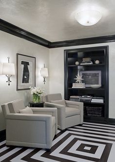 Gray & black sitting area. Walls painted in Silver Lining, 2119-60. (Also nice used as trim paint in semi-gloss oil or on ceiling in flat latex.)