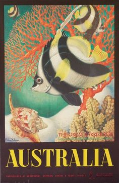 """Eileen Mayo: Australia/The Great Barrier Reef   Circa 1956. 39 ½"""" x 24""""  You have to love this classic, gorgeously rendered depiction of the Great Barrier Reef; that's a Longspined Butterfly-fish in case you were wondering."""