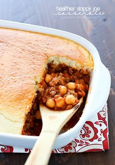 This Sloppy Joe Casserole is a healthy recipe filled with pureed vegetables, (your kids won't even know they're there!) lean ground turkey and chickpeas topped with a yummy biscuit topping. Healthy & delicious!