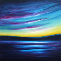 """Night Divides the Day is an expressive abstract landscape oil painting 50x50cm on a deep 4cm box canvas. It's inspired by the sunset and dusk on the River Thames outside my studio. The title is from """"Break on Through"""" by The Doors. The paint is splashed and blended and slightly textured."""