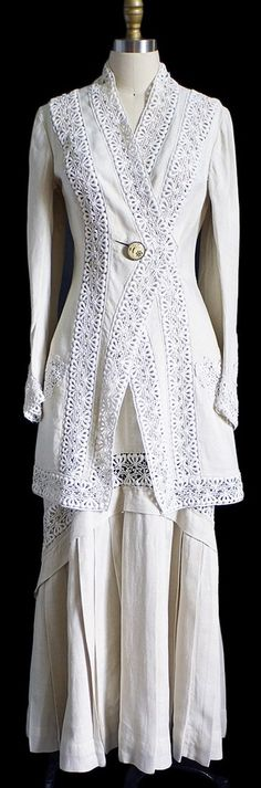 Edwardian Linen & Lace Walking Suit:  This has long enough lines and chunky enough geometrics for me to wear, and still blazingly feminine!