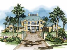 Mediterranean House Plan with 5767 Square Feet and 4 Bedrooms(s) from Dream Home Source | House Plan Code DHSW64007
