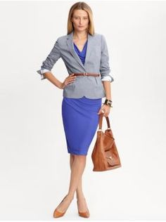.:* L - Sharp! Indigo dress under gray suit jacket with camel colored accessories. Perfect for non court days! [Women's Apparel: outfits we love | Banana Republic]