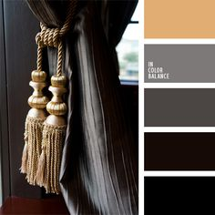 Deep and strong color palette is built on a contrasting combination of dark gray and dark brown tones and light beige color, which is the focus in this palette.  The interior design is suitable for strict headmaster's office or meeting room.  Also will look good in the men's clothing business.