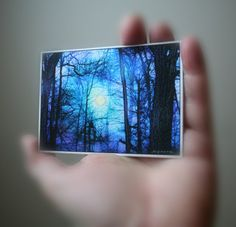 moon, art, aceo trees aceo blue art Gift under 20 by dahliahousestudios, $8.25