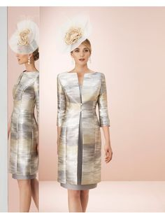 Couture Club Stunning Coat With Shift Dress Gold/Taupe SOLD Couture Club Stunning Coat With Shift Dress Gold/Taupe Mother Of The Bride Fashion, Mother Of The Bride Suits, Mother Of Bride Outfits, Mother Of Groom Dresses, Mob Dresses, Bridal Dresses, Fall Wedding Outfits, Brocade Dresses, Short Cocktail Dress