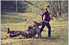 Cute maternity picture for a duck hunter!