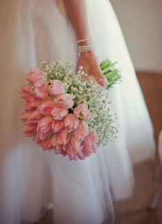 Pink tulips and baby's breath ~ Best #Wedding #Bouquets of 2014 ~ Mark Tattersall Photography | bellethemagazine.com