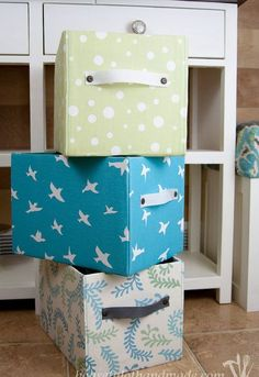 diy fabric covered storage boxes, storage ideas, reupholster