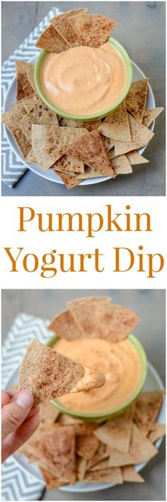 This recipe for Pumpkin Yogurt Dip pairs perfectly with cinnamon and sugar tortilla chips for a healthy snack!