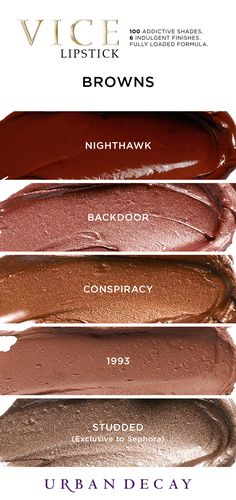 Vice Lipstick Looking to rock an edgy lip this winter? These bold browns are calling your name! You can find 100 must-have shades of Vice Lipstick now at Urban Decay. Urban Decay Lipstick, Lipstick Dupes, Makeup Dupes, Lipstick Colors, Liquid Lipstick, Lip Colors, Eye Makeup, Lipstick Designs, Makeup Designs
