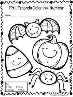 Halloween Color-by-Number Free activity worksheet for fall!