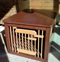 Indoor dog crates with floors and optional tops, large wooden pet pens for smaller dogs, and wooden pet gates. Wooden Dog Crate, Dog Crates, Puppy Pens, Dog Crate Furniture, Pet Style, Pet Gate, Dog Wedding, Pet Accessories, Doge