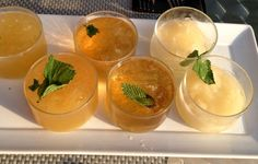Kentucky Derby mint julep whiskey flight: traditional, million dollar, and pineapple