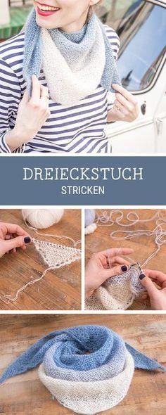 DIY-Anleitung für einen leichten Strickschal mit Verlauf, Dreieckstuch stricken / knitting pattern for a triangle scarf with ombre effect via DaWanda.com