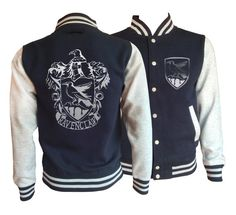 Vintage style Harry potter Inspired Ravenclaw House varsity jacket with silver emblem in front and back.  Amazing! very soft inside and warm.     This jacket has loads of features including knitted collar, cuffs and waistband, press stud closure, taped back neck and pocket with small opening for ear phone cord. There are a vast range of sizes in this jacket starting at extra-small and going up to 2 extra-large.      Fabric:  80% cotton, 20% polyester…