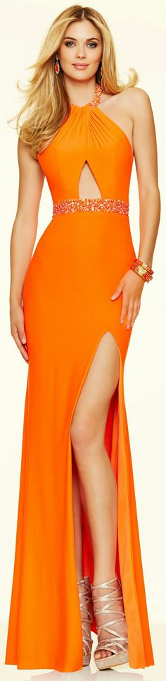 ❤MGNY  PAPARAZZI for MORI LEE Tangerine Stretch Jersey Evening Gown w. Slit up to L. Thigh & Crossover Halter Top Neck Collar #98108❤
