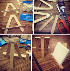 Art Projects for Kids: Popsicle Stick Easels - after creating their work of art, kids can also make the easels to display them - how cute is that?
