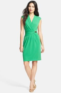 Ellen Tracy Print Faux Wrap Jersey Dress available at #Nordstrom
