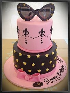 Glam Black & Pink Sunglasses Cake!