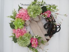 SPRING MONOGRAM WREATH....Spring Door Decor....Front Door Wreath...Interior Decor Wreath...Cottage Chic Decor Wreath...Trending Now Decor.. by AutumnsEchoShoppe on Etsy