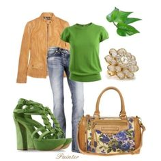 polyvore green | Green Chiffon, created by archimedes16 on Polyvore style