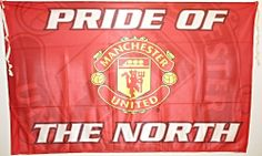 Manchester United PRIDE OF THE NORTH Sublimation Flag with Club Crest