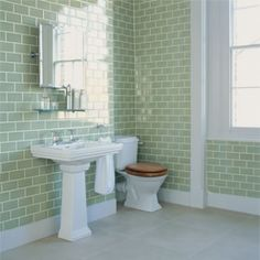 Battersea | Fired Earth I love this green subway tile but not all the walls. maybe do half of the wall and then the bottom white