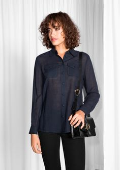 & Other Stories image 2 of Wool Shirt in Navy