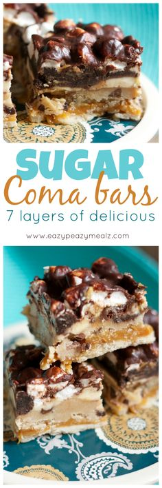Sugar Coma Bars: 7 delicious layers, shortbread, caramel, brownies, cookie dough, chocolate ganache, cheesecake, and more. You definitely need this in your life. - Eazy Peazy Mealz