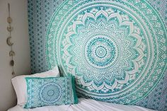 RSG Venture Turquoise Green Ombre Tapestry Teal Aqua Hippie Wall Tapestries teal mint Tapestry Wall Hanging Hippie Mandala Tapestry Bohemian Bedspread Ethnic Dorm Decor Mandala hippie tapestries by My New Room, My Room, Dorm Room, Tapestry Bedroom, Tapestry Wall Hanging, Bedroom Wall, Bedroom Ideas, Window Hanging, Wall Hangings