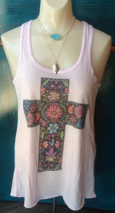Pink Tank with Mexican Cross and Bling