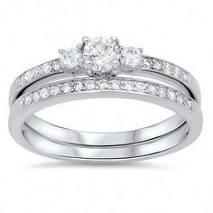 This Perfect Round Cut Russian Lab Diamond Bridal Set is a perfect combination of elegance and statement. The trilogy nicely represents your past, present & future together. Elegant and lots of sparkle. Russian lab diamonds are grown by. Bridesmaid Jewelry Sets, Bridal Jewelry Sets, Bridal Sets, Alternative Wedding Rings, Lab Diamonds, Engagement Ring Settings, Engagement Rings, Diamond Wedding Bands, Diamond Rings