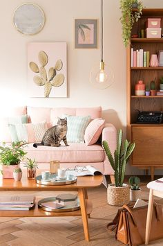 Home decor Home decor. cute-tropical-living-room-with-cactus-plants. Home Living Room, Living Room Decor, Bedroom Decor, Pink Home Decor, Vintage Home Decor, Home Decoration, Style Vintage, Living Room Inspiration, Home Decor Inspiration