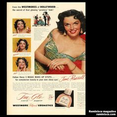 Jane Russell in a 1953 Westmore Cosmetics ad #vintage #1950s