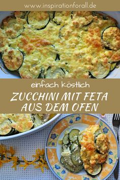 Baked zucchini - delicious recipe for zucchini slices with feta- The recipe for this zucchini casserole is simple and quick. It is prepared with feta cheese, eggs and spring onions. The casserole is ideal for lunch or dinner. Zucchini Slice, Bake Zucchini, Zucchini Casserole, Casserole Recipes, Baked Scallops, Snacks Sains, Queso Feta, Le Diner, Daily Meals