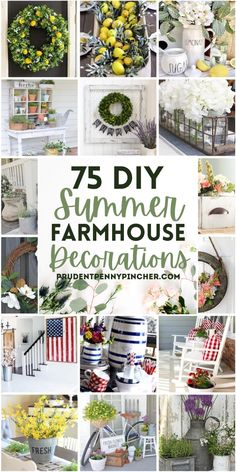 Add a splash of summer to your farmhouse decor on a budget with these DIY summer farmhouse decor ideas. From farmhouse front porches to DIY farmhouse centerpieces, there are DIY farmhouse decor ideas for your whole home. Farmhouse Style Kitchen, Country Farmhouse Decor, Farmhouse Design, Rustic Decor, Farmhouse Front, Modern Farmhouse, Farmhouse Ideas, Modern Decor, Decor Vintage