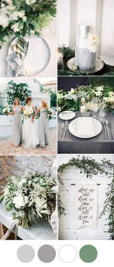 elegant and romantic grey and white greenery wedding ideas